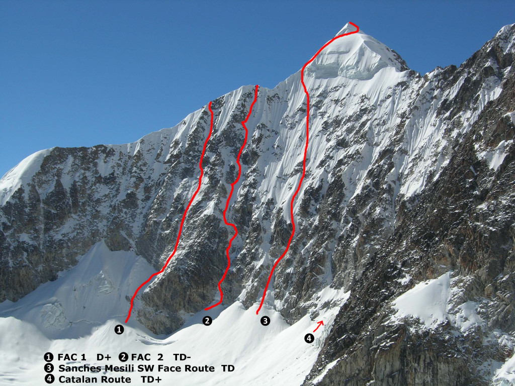 Pico Shulze SW face routes
